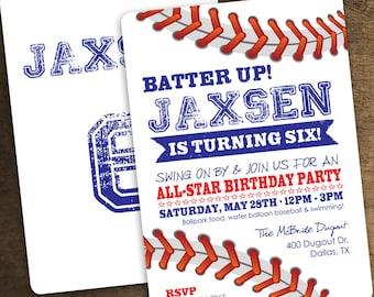 5x7 Baseball Invitation - Baseball Birthday Party