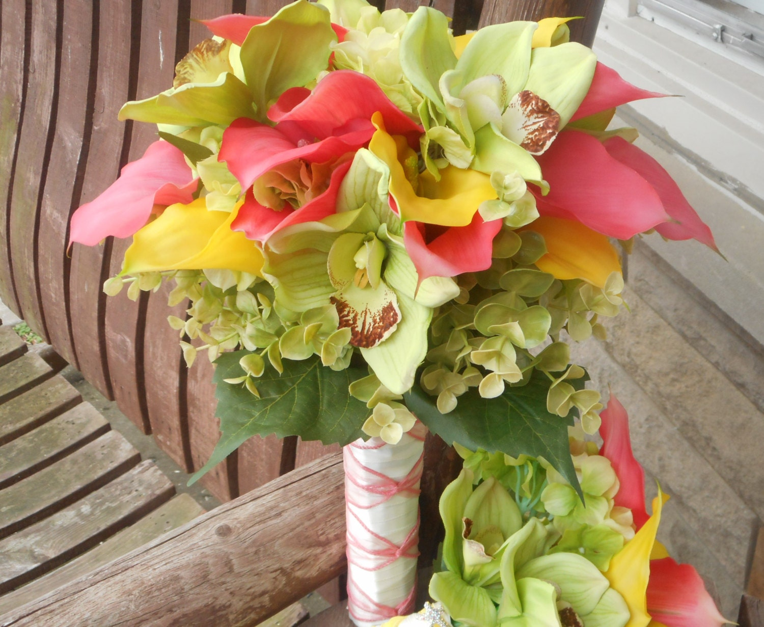 Beach wedding salmon pink yellow calla lily beach bouquet zoom dhlflorist Images