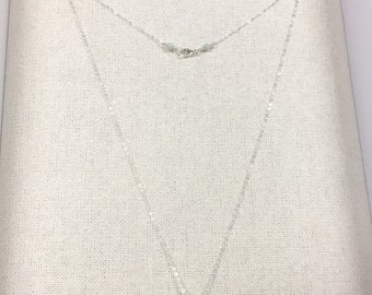 """Necklace w Chalcedony and sterling silver. 16"""" length"""