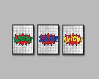"""3 Comic Sound Effect Prints - 2 Different Sizes 8"""" x 10"""" and 11"""" x 14""""  - DIY Download and Print in 4 Sizes - Wall Decor -Superhero"""