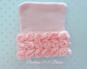 Last One-Newborn Hospital Hat with Pink Roses, infant beanie-infant girl hat-baby girl hat-baby girl shower gift