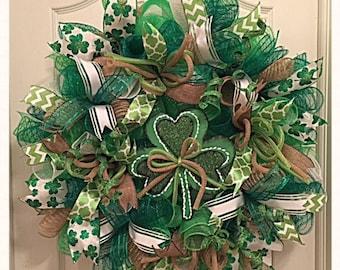 St Patrick's Deco Mesh Wreath With Shamrock/St Patrick's Wreath/Spring Wreath/Green Wreath/Saint Patricks Day Wreath