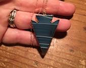 Blue agate arrowhead necklace