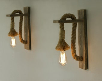 Pair of Reclaimed wood sconce with rope, Rope wall lamp  lighting