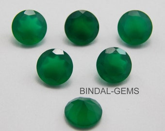 10 Pieces Wholesale Lot Green Onyx Round Shape Faceted Cut Gemstone For Jewelry