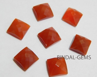 Wholesale Lot 15 Pieces Amazing Red Onyx Square Shape Checker Cut Gemstone For Jewelry