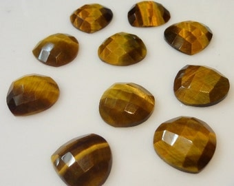 10 Pieces Lot Rarest Natural Tiger Eye Heart Shape Checker Cut Loose Gemstone