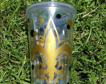 New Orleans Saints Tumbler, Fleur De Lis Tumbler, Personalized 16oz Double Wall Tumbler, Monogram, Personalized,  Louisiana, Tumbler, Cup