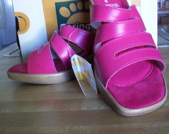 Womens Spring Step (Brand) fuchsia leather wedge sandal NIB with tags 7 1/2-8