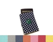 Custom personalized polka dots monogrammed passport cover holder. CHOOSE YOUR COLORS! Traveler gift. Graduation gift idea.