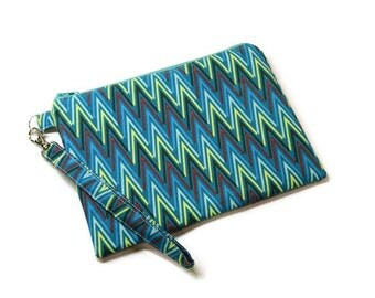 Teal fabric women iphone double zippered wristlet wallet, phone purse.