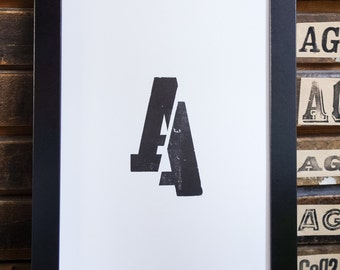 Sliced A, typographic poster in letterpress