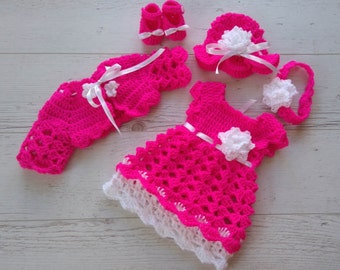 Newborn girl dress, pink baby clothes, pink baby outfit, newborn girl outfit, newborn girl clothes, hot pink baby dress, pink baby booties