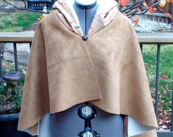 Beautiful, Warm, Southwest Style, Tiered Suede Sherpa Cape Cloak Poncho Embroidered Hood