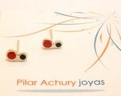 mini stud earrings -  Sterling Silver Ear Studs - Red Black - Polka dot  earrings -  Spring - Summer  - Valentine's Day