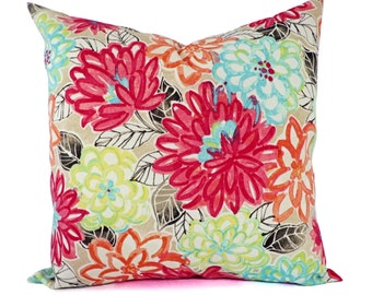 Watercolor Pillow Covers - Outdoor Pillow Cover - Pink Pillow Covers - Floral Pillow Cover - Teal Pillow Cover - Blue and Pink Pillow Sham