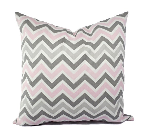 Grey And Pink Decorative Pillows : Two Chevron Throw Pillows Baby Pink Grey and by CastawayCoveDecor
