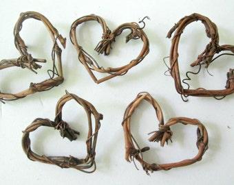 5 miniature vine hearts, grapevine hearts, DIY decor, DIY Wedding decor, hearts for crafting, fairy garden decor