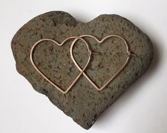 SMALL HEART HOOPS - Heart Hoop Earrings in Sterling Silver, Gold, or Rose Gold