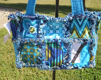Rag Quilt Purse tote bag teal aqua olive green blue royal very colorful magnetic snap pockets