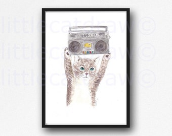 Tabby Cat with a Stereo Boom Box Kitty Cat 1980's Cool Cat Watercolor Painting Art Print Wall Art Wall DEcor Unframed Cat Lover Art