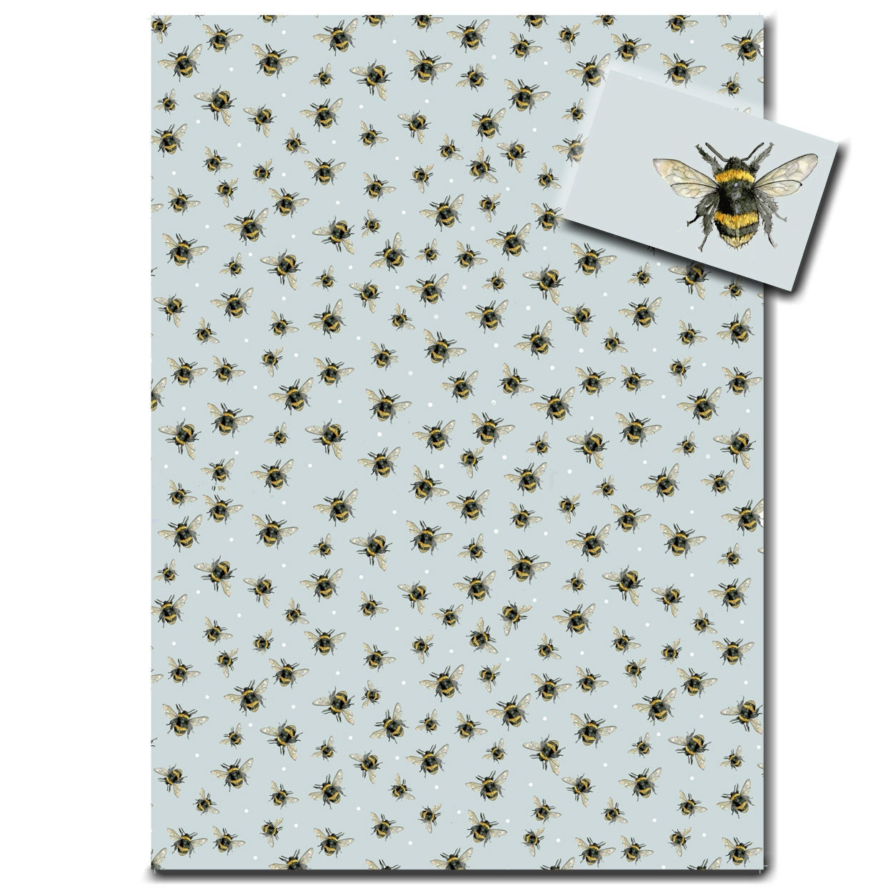 wrapping paper bumble bee duck egg blue gift wrap made in england from sarahboddyuk on. Black Bedroom Furniture Sets. Home Design Ideas