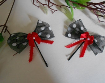 White Polka Dots and Bows Bobby Pins