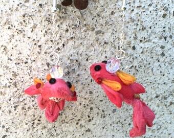 Fish kanzashi chirimen earring