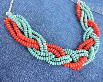 Handmade Braided Seed Bead Necklace in Red & Turquoise