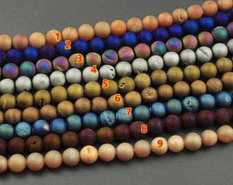 Wholesale Druzy Beads, Gemstone Beads, Roun Matte Druzy Stone, Druzy Quartz Agate Beads For Jewelry Making 10mm