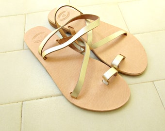 Golden greek sandals, Ancient sandals, Handmade Greek leather sandals, Wedding sandals, Summer flats,Toe ring sandals, Bridal party shoes
