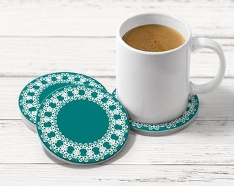 Teal drink coasters, Set of 4 coasters, Hostess gift, Wedding present, Holiday Gift, CR049