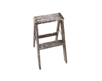 Vintage Small Wooden Painter's Two Step Folding Ladder