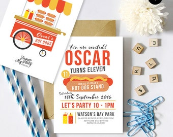 Hot Dog Birthday Party Invitations (Personalised DIY Printables)