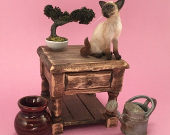 Siamese Cat~ Dollhouse Miniature by EEWinters, IGMA Artisan - OOAK