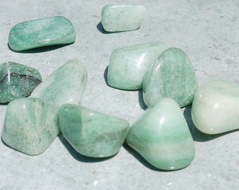 Natural Aventurine Tumbled Stones, Blue  - Set of 2, Good Luck, Gambling Tailsman; Heart Healing