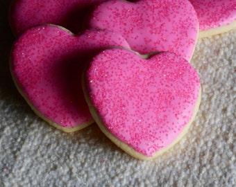 Iced Sugar Cookie Hearts - 1 Dozen Cookies