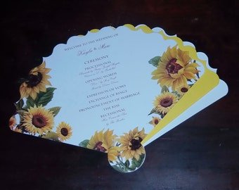 Wedding Program Fans, Vintage Personalized Fans Sunflowers