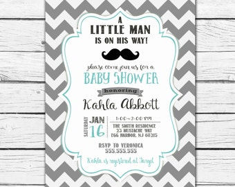 Little Man Mustache Baby Shower Invitation, Little man baby shower invitation, mustache baby shower- Printable/Digital File