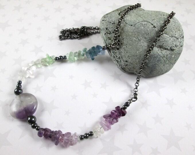 Fluorite Gradient Necklace - Asymmetric Colors - Green Purple Clear Ombre