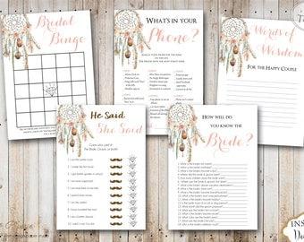 INSTANT DOWNLOAD - Dream Catcher Boho Floral BRIDAL Games Package - Printable Bridal Shower Games - Boho Game Pack - Bohemian - 0333