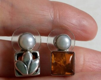 Cute Pearl Earrings with Reversible Earring Sleeves of Amber and Sterling