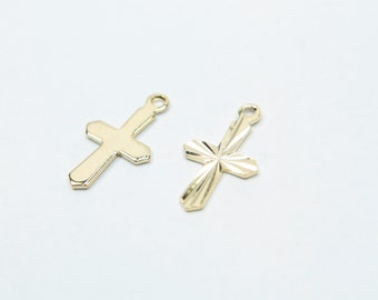 Cross charm, Nickel free, N2-P6, 10 pcs, 13x8mm, 16K gold plated brass, CY01-04