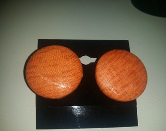 African fabric button earrings in orange.