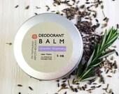 Natural Deodorant, Aluminum Free Deodorant, Best Natural Deodorant, Deodorant Balm, ROSEMARY, LAVENDER, 2oz