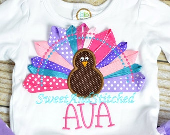 Girls Thanksgiving shirt personalized, personalized girls Turkey outfit with ribbon applique, girl turkey outfit!  Thanksgiving tutu outfit