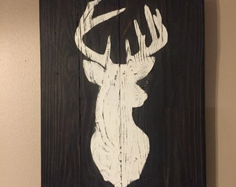 Buck Silhouette- Animal Silhouette on pallet wood- Deer- Squirrel- Fish- Duck- Doe- Bear- Turkey- Fathers Day Gift- Christmas gifts for men
