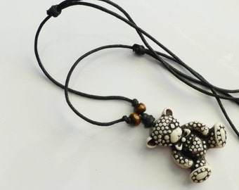 Necklace Teddy Bear design on black cord adjustable length with wooden beads Childs Boys or Girls Teenagers Women oe mens