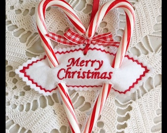 Merry Christmas Sweetheart Candy Cane Holder Holder Machine Embroidery Christmas Design - Machine Embroidery Instant Download Design