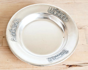 Vintage Gero Childs Fairy Tale Snow White Silverplate Dish, Gerofabriek Holland Silver Plated Repousse Baby Plate